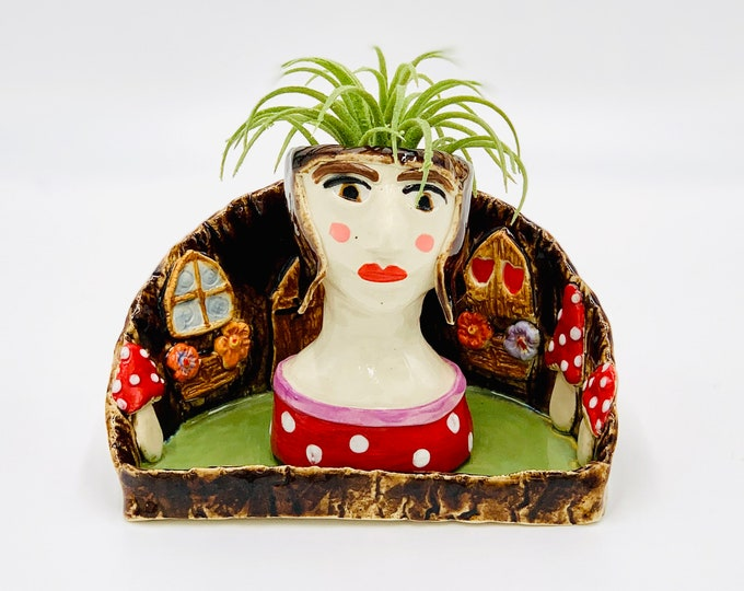 Mushroom Fairy Ceramic or Pottery Planter Head or Face Pot for Succulents or Plants