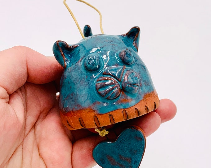 Cat Bell in Terracotta Clay Ceramic or Pottery