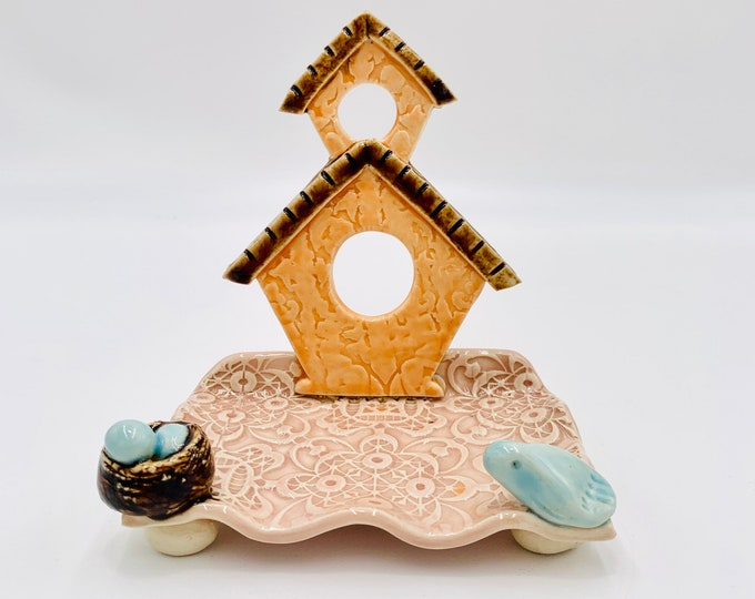 Tangerine Birdhouse Ceramic Business Card Holder, Change, Tea Bags, Candles, Rings or for Decoration