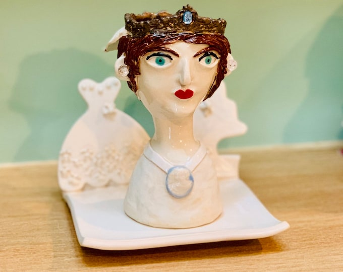 Bridal Ceramic or Pottery Planter Head or Face Pot for Succulents or Plants