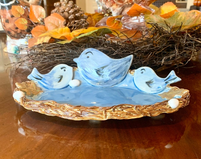 Bird Nest Oval Bowl in Blue made of Ceramic or Pottery for Change, Candle, Trinkets or Jewelry Holder