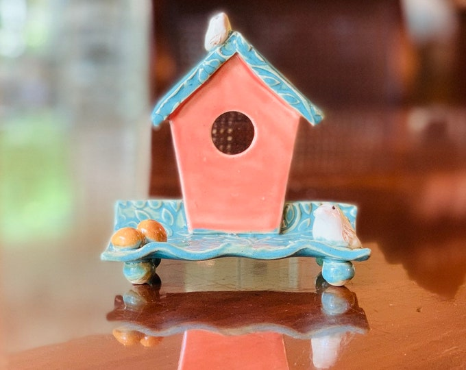 Coral Bird House Ceramic Business Card Holder, Change, Tea Bags, Candles, Rings or for Decoration