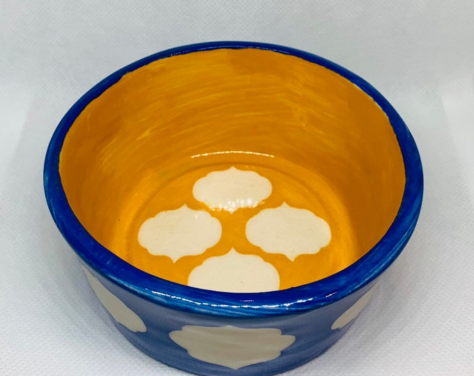Moroccan Pattern Blue and Gold Ceramic Bowl