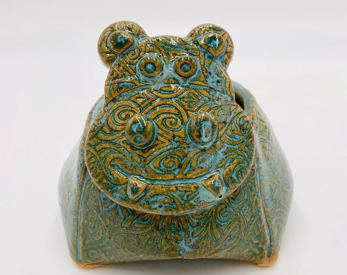 Speckle Clay Hippo Ceramic or Pottery Animal Bowl for Succulents, Change, Food, Candles, Trinkets or Jewelry
