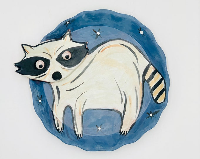 Raccoon Terra Cotta Pottery or Ceramic Handmade Platter or Decorative Plate