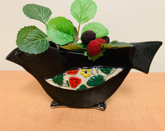 Strawberry Patterned Black  Crow Pottery or Ceramic Decorative Statue or Vase Handmade