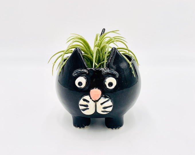 Black Cat in White Clay Ceramic or Pottery Vase or Pencil Holder