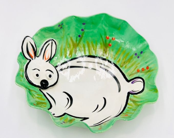 Bunny or Rabbit Pottery or Ceramic Handmade Platter or Decorative Bowl