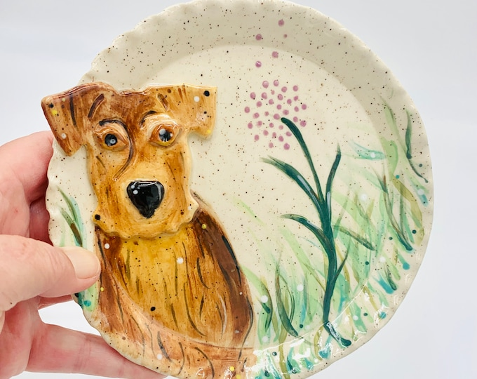 Hand Painted Terrier in Speckle Clay  Pottery or Ceramic Handmade Platter or Decorative Plate