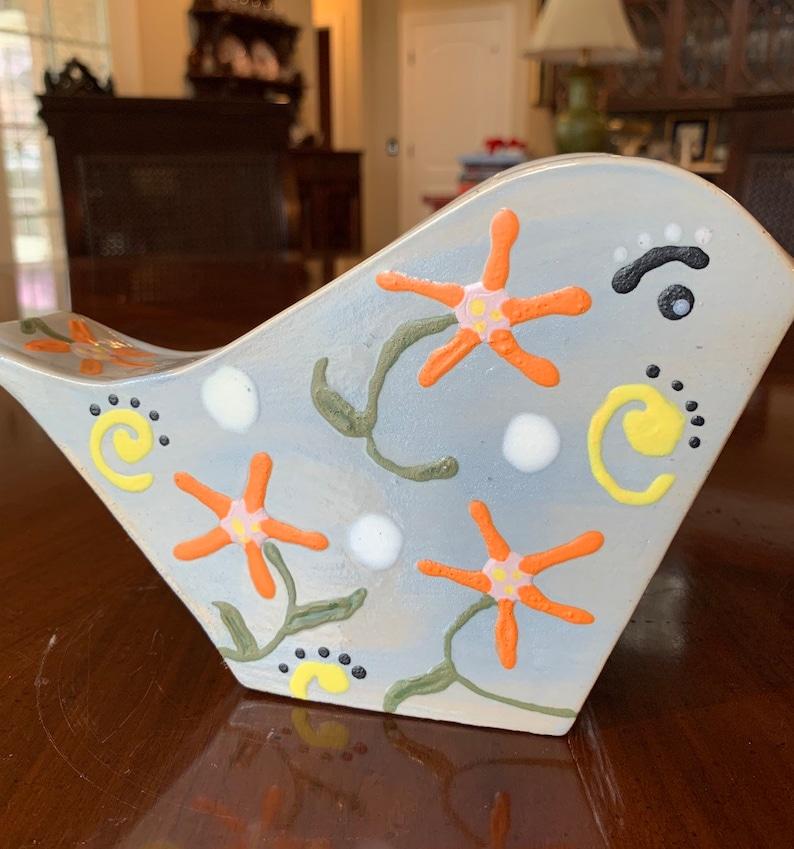 Decorative Statue or Vase Handmade Blue Painted Ceramic Bird