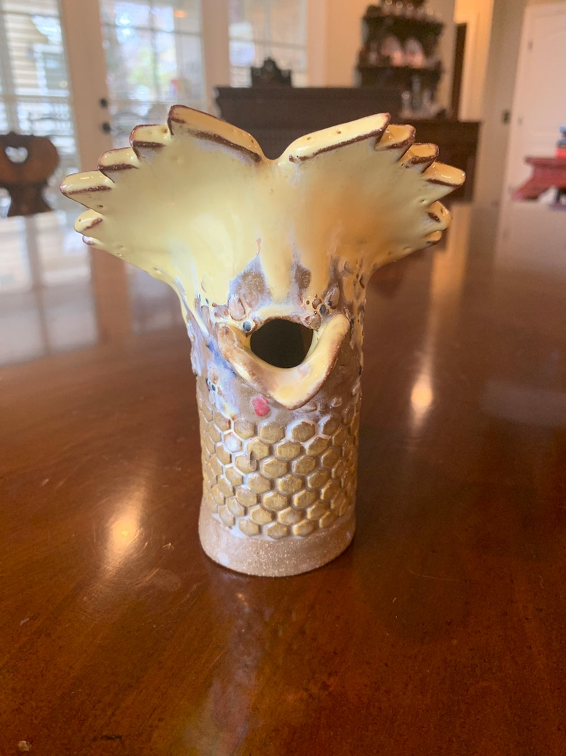 Honeybee Rooster Inspired Ceramic Pitcher or Pottery Vase