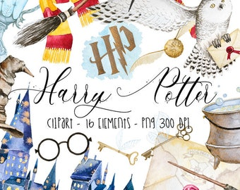Harry Potter Clipart Watercolor ClipartHogwarts Digital Birthday Cards Invitations Party