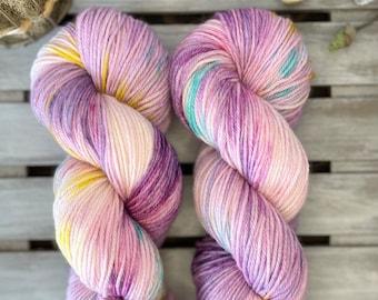 DK Yarn, Hand Dyed Yarn, Superwash Merino Wool  - Purple Blue Yellow Yarn