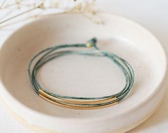 "leather tube bracelet ""Tingval"" //  light stone gray (vintage)"