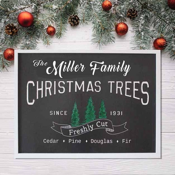 Millers Christmas Tree Farm.Personalized Mistletoe Farms Christmas Tree Wood Sign Holiday Decor Large