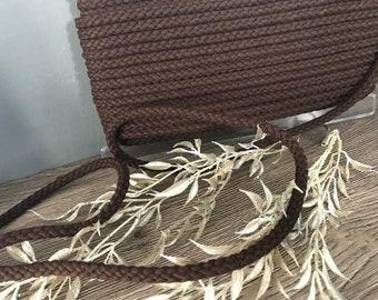 1 m cotton cord, cord, brown, 8 mm