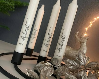 Set of 4 stick candles / candles / Advent candles / Advent / Advent numbers / white / black / gift / Christmas
