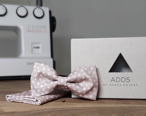 Men's Bow Tie / Set / Pocket Cloth / Cotton Grey / Accessory / Gift Idea / Gift for Him / Bow / From Germany / Berlin