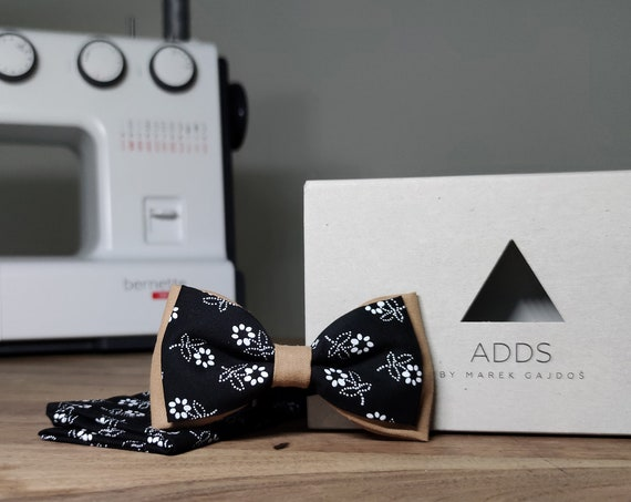 Men's Bow Tie / Set / Pocket Cloth / Cotton Black / Accessory / Gift Idea / Gift for Him / Bow / From Germany / Berlin