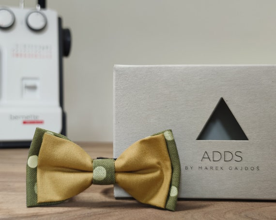 Men's bow tie / bow tie with dots / accessory / cotton / gift idea / gift for him / bow / handmade bow tie / brown grey
