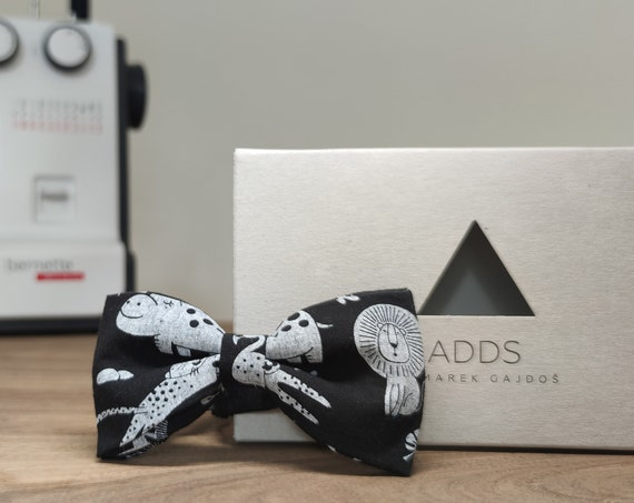 Men's bow tie / bow tie with animals / accessory / cotton / gift idea / gift for him / bow / handmade bow tie / animal black