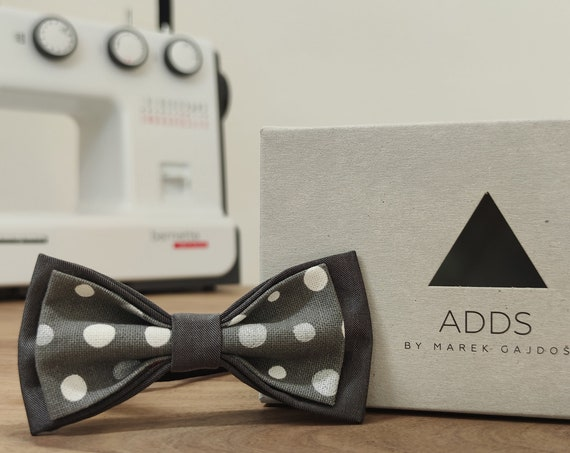Grey bow tie / accessory / gift idea / gift for him / bow / handmade bow tie / from Germany / Tied