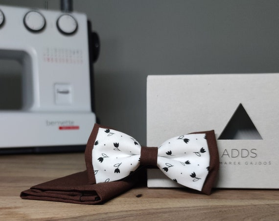 Men's Bow Tie / Set / Pocket Cloth / Cotton Brown / Accessory / Gift Idea / Gift for Him / Bow / From Germany / Berlin