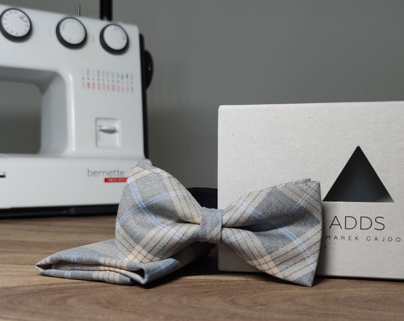 Men's Bow Tie / Set / Pocket Cloth / Grey / Polyester / Accessory / Gift Idea / Gift for Him / Bow / From Germany / Berlin