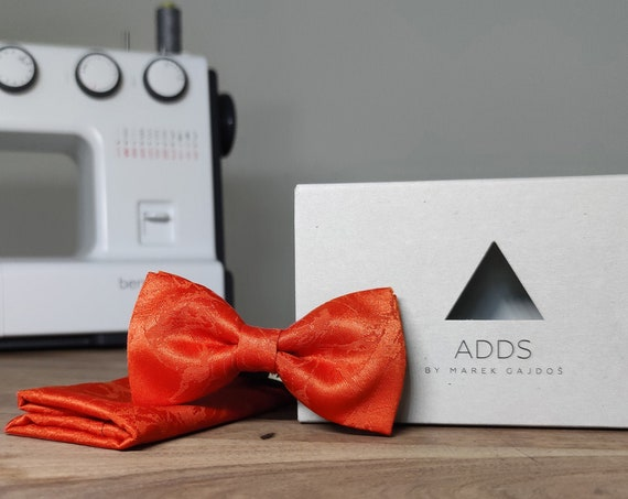 Men's Bow Tie / Set / Pocket Cloth / Orange / Accessory / Gift Idea / Gift for Him / Bow / From Germany / Berlin