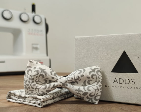 Set / bow tie / pocket cloth / white / grey / polyester / accessory / gift idea / gift for him / bow / from Germany / Berlin