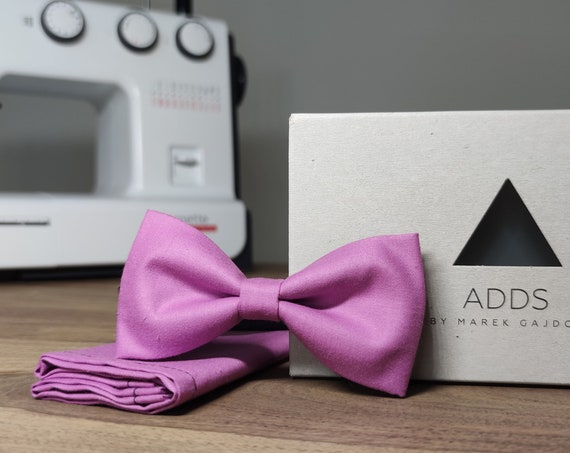 Men's Bow Tie / Set / Pocket Cloth / Cotton Pink / Accessory / Gift Idea / Gift for Him / Bow / From Germany / Berlin