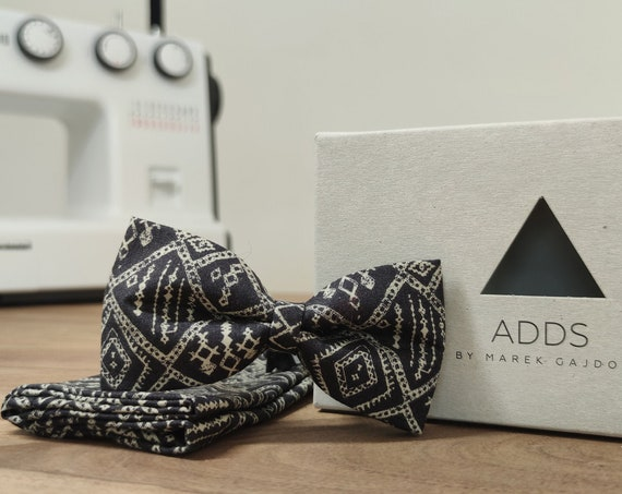 Set / Bow Tie / Pocket Cloth / Dark Blue / Cotton / Accessory / Gift Idea / Gift for Him / Bow / From Germany / Berlin