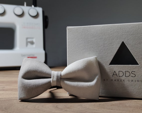 Yellow bow tie / painted bow tie / grey white / cotton / gift idea / gift for him / bow / handmade bow tie
