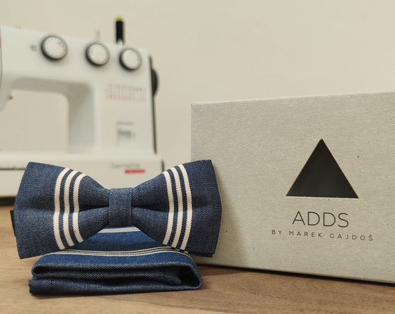 Men's Bow Tie / Set / Pocket Cloth / Blue / Cotton / Accessory / Gift Idea / Gift for Him / Bow / From Germany / Berlin