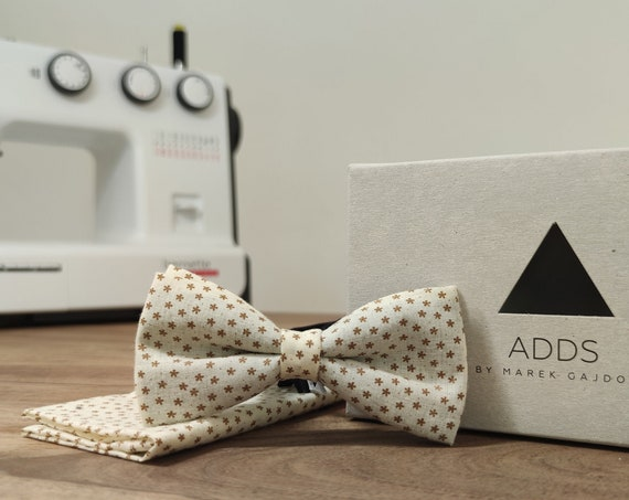 Set / Bow Tie / Pocket Cloth / White / Polyester / Accessory / Gift Idea / Gift for Him / Bow / From Germany / Berlin