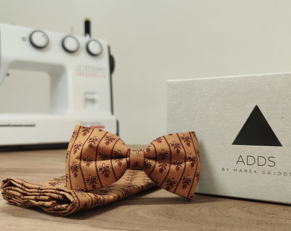 Men's Bow Tie / Set / Pocket Cloth / Brown / Cotton / Accessory / Gift Idea / Gift for Him / Bow / Germany / Berlin