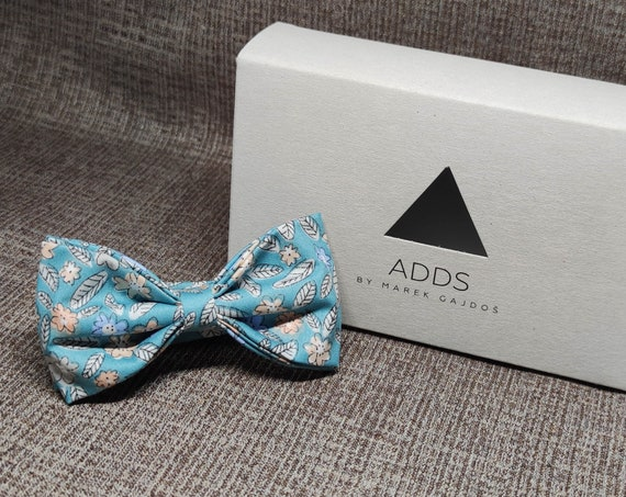 Fly, bow tie - Blue, green with flowers