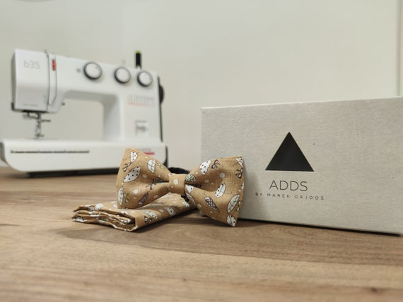 Set / Bow Tie / Pocket cloth / Brown / Cotton / Accessory / Gift idea / Gift for him / Bow / From Germany / Berlin