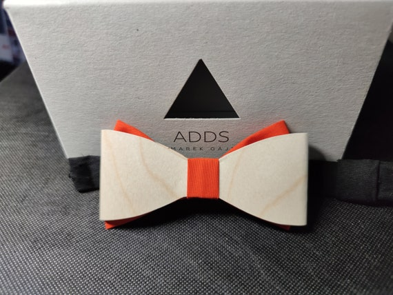 Men's bow tie, wooden bow tie, accessory, cotton, gift idea, gift for him, bow, handmade bow tie, orange