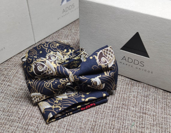 Set fly and scarf bow tie and handkerchief, Dark with fish
