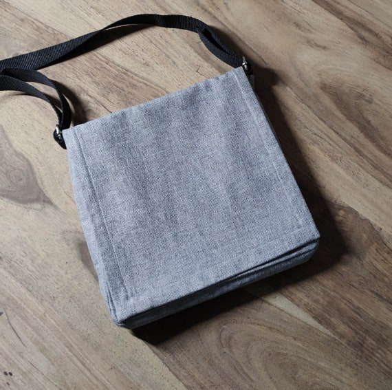 Handmade Sidebag with Pen Bag / Grey / Red / Handmade Sidebag