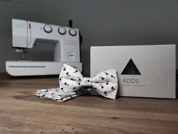 Men's Bow Tie / Set / Pocket Cloth / Cotton White / Accessory / Gift Idea / Gift for Him / Bow / From Germany / Berlin