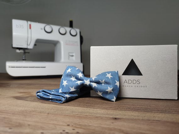 Men's bow tie with stars / set / pocket cloth / blue / accessory / gift idea / gift for him / bow / from Germany / Berlin