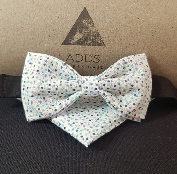 Set bow tie and pocket cloth bow tie and handkerchief