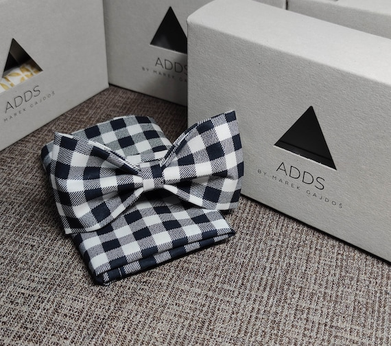 Set bow tie and handkerchief, checkered, black and white