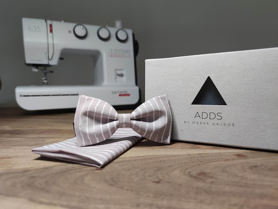 Men's Bow Tie / Set / Pocket Cloth / Grey / Accessory / Gift Idea / Gift for Him / Bow / From Germany / Berlin