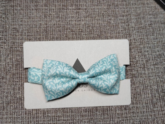 Bow tie and pocket cloth / dots / blue bow tie / mens accessory / bow / cotton / handmade accessory