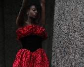 Vintage 80s Gunne Sax by Jessica Mcclintock Red and Black PRom Dress extra small