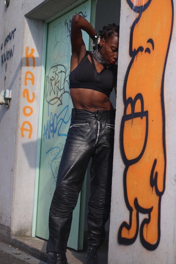 Vintage 90s Black Leather Biker Trousers with Zipp