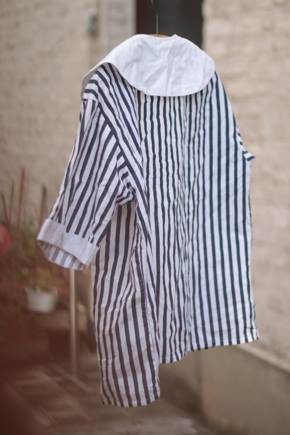 VIntage Striped Cotton Blouse with Statement Coll… - image 4